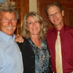 Gus Paphides, our 3rd artist, his wife, Elaine T Paphides, who has designed 6 artists' flyers for the museum, and Phil McKenney, our featured artist smile for a group photo