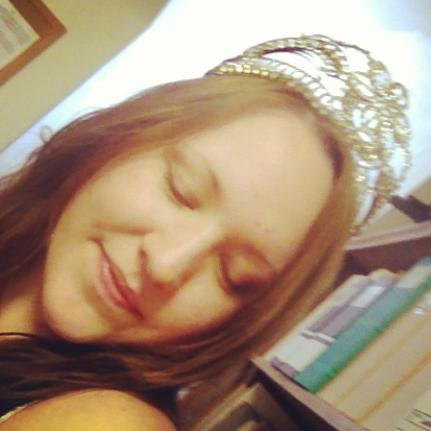 Katheryn Lillie Sullivan in a crown in the WCM Library