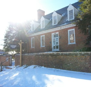 Snowy Westmoreland County Museum with sun