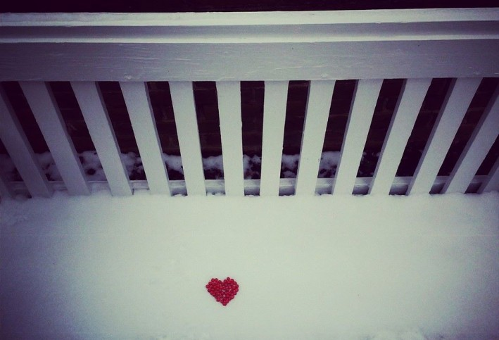 Snowy bench with heart- favorite