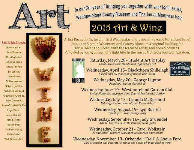 2015 Art & Wine Schedule