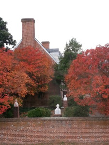 Westmoreland County Museum with Red Fall Leaves- Close up