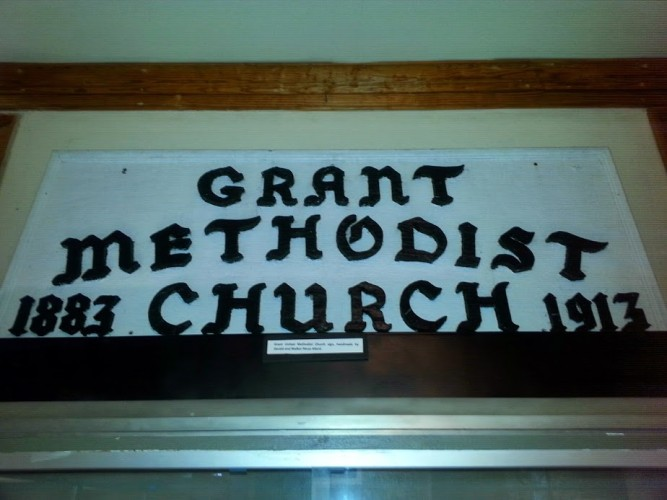 Grant United Methodist Church sign, handmade by Gerald and Walker Muse Allard.